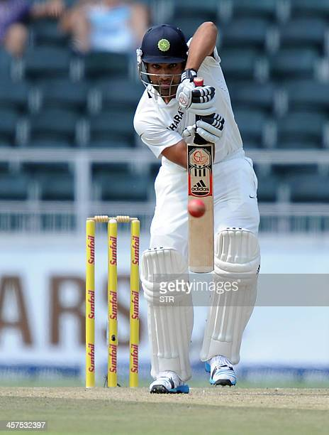 Indian batsman Rohit Sharma is in action on the 1st day of the cricket Test Match South Africa vs India at Wanderers Stadium in Johannesburg on...
