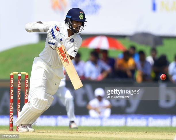 Indian batsman Shikar Dhawan plays a shot during the first day of first Test match between Sri Lanka and India at Galle International Cricket Stadium...