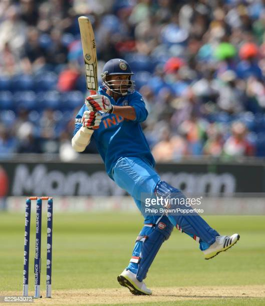 Indian batsman Shikhar Dhawan batting during his innings of 114 runs in the ICC Champions Trophy group match between India and South Africa at the...