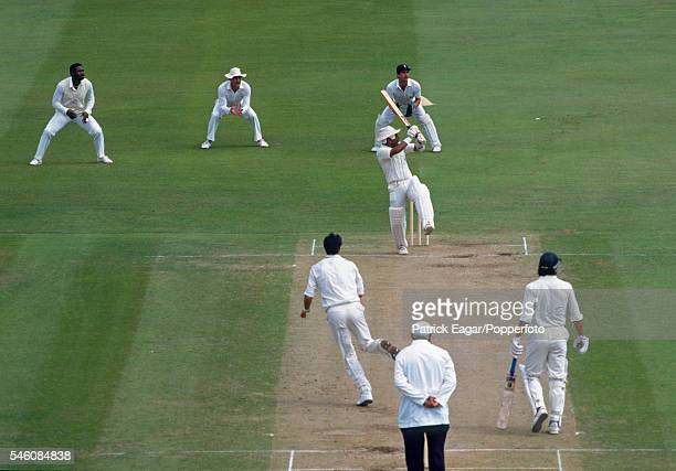 Indian batsman Sunil Gavaskar in his innings of 188 for the Rest of the World XI facing the bowling of Richard Hadlee of Marylebone Cricket Club...