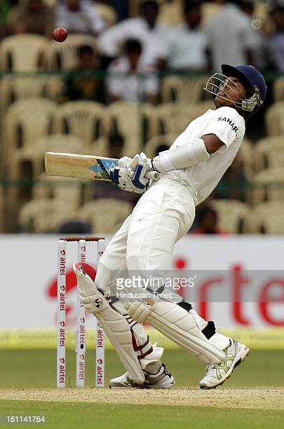Indian batsman Umesh Yadav getting out of line of the bouncer from New Zealand bowler during third day of second Test match between India and New...