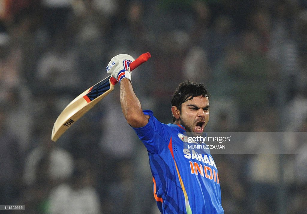 Indian batsman Virat Kholi reacts after : News Photo