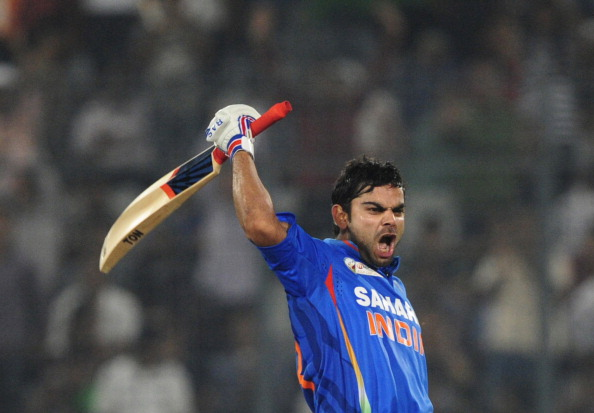 Indian batsman Virat Kholi reacts after : News Photo
