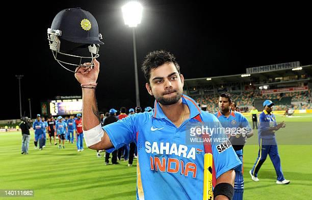 Indian batsman Virat Kohli acknowledges the applause after hitting the winning runs against Sri Lanka in their international one day cricket match...