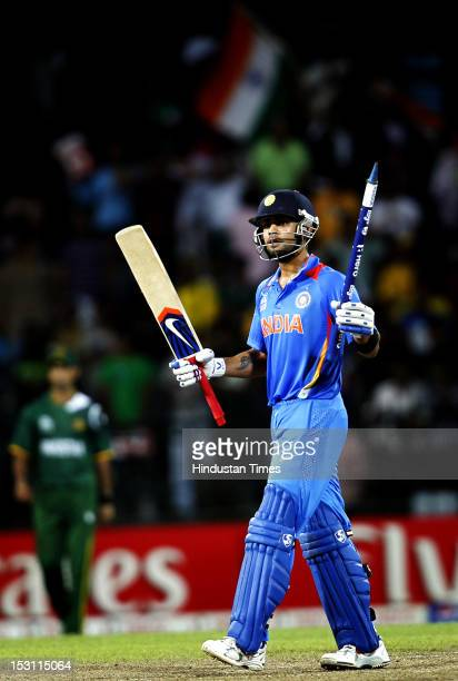 Indian batsman Virat Kohli celebrates after India won the match against Pakistan during the ICC T20 World Cup Super Eight group 2 cricket match...