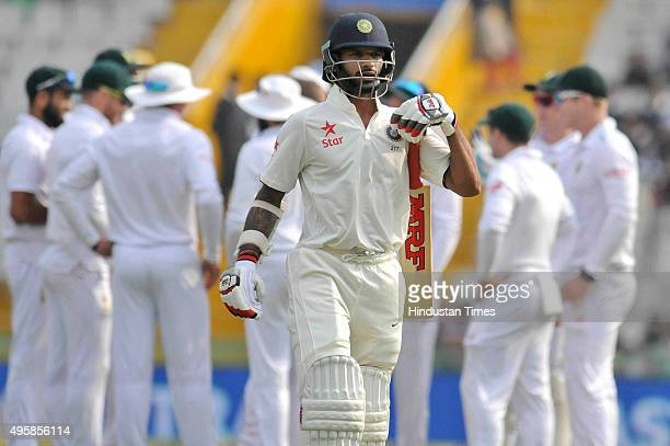 Indian batsman Virat Kohli returning to pavilion after getting out during the test match played against South Africa at PCA Stadium on November 5...
