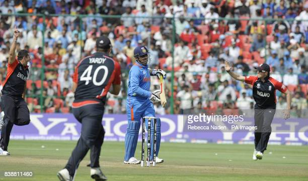 Indian batsman Virender Sehwag is dismissed during the ICC Cricket World Cup match at Chinnaswamy Stadium Bangalore India