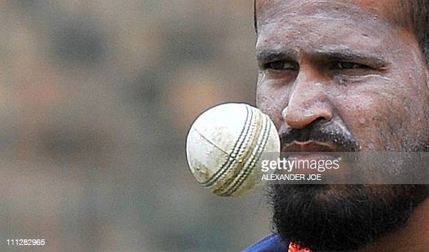 Indian batsman Yusuf Pathan eyes the ball during training at St George's Park in Port Elizabeth on January 20 on the eve of their fourth oneday...
