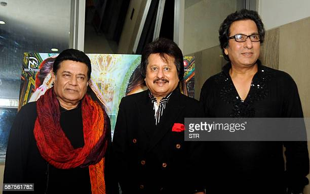 Indian Bhajan and Ghazal singer Anoop Jalota Ghazal singer Pankaj Udhas and Talat Aziz pose as they attend the music launch of the forthcoming...