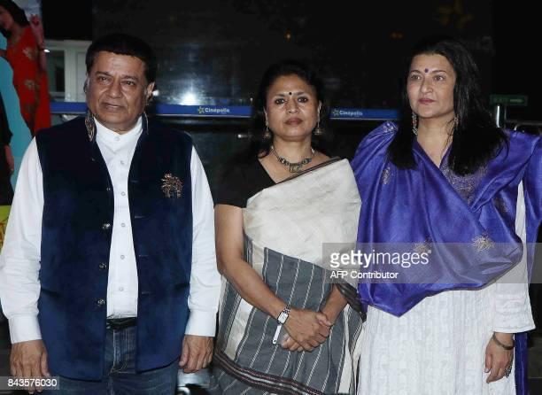 Indian Bhajan singer Anup Jalota writer and director Seema Kapoor and actress Sarika attended the screening of Hindi film 'Mr Kabaadi' in Mumbai on...