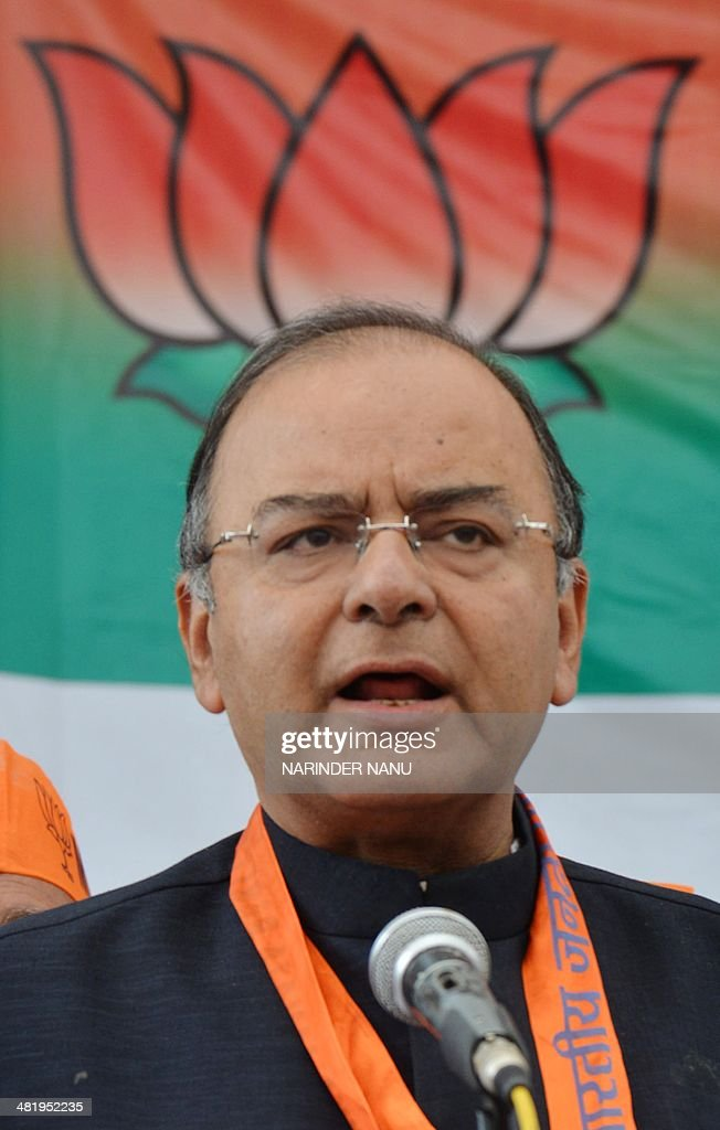 Indian Bharatiya Janata Party (BJP) senior leader and candidate for Amritsar's parliamentary seat <a gi-track='captionPersonalityLinkClicked' href=/galleries/search?phrase=Arun+Jaitley&family=editorial&specificpeople=2660950 ng-click='$event.stopPropagation()'>Arun Jaitley</a> speaks to media at the BJP office in Amritsar on April 2, 2014. India, the world's biggest democracy, announced the start of national elections on April 7 that are expected to bring Hindu nationalist Narendra Modi to power on a platform of economic revival. AFP PHOTO/NARINDER NANU