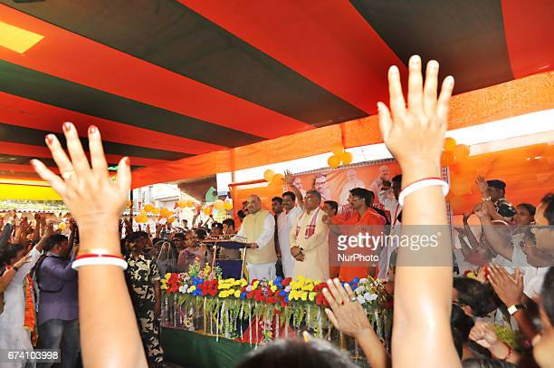 Indian Bharatiya Janta Party national president Amit Shah addresses party workers in a neighbourhood in Kolkata on April 27 2017 The BJP leader's...