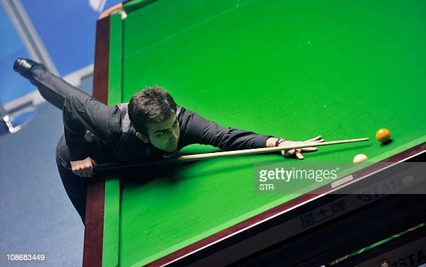 Indian billiard player Pankaj Advani competes during the men's English billiards singles final at the 16th Asian Games in Guangzhou on November 14...
