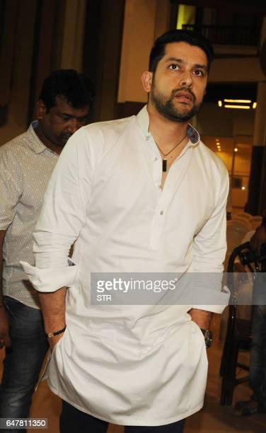 Indian Bollywood actor Aftab Shivdasani attends a prayer meeting for Veerappa Shetty the father of actor Suniel Shetty in Mumbai on March 4 2017 /...
