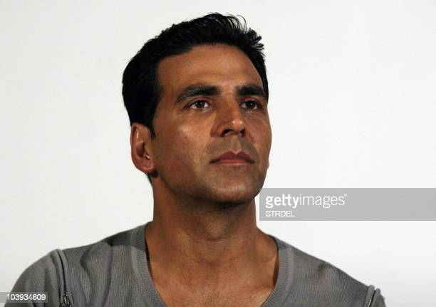 Indian Bollywood actor Akshay Kumar attends a promotional event for upcoming Hindi film 'Action Replay' directed by Vipul Shah in Mumbai on September...