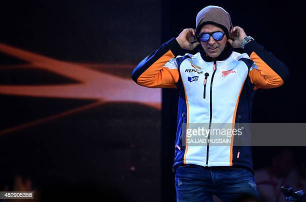 Indian Bollywood actor Akshay Kumar gestures during the launch of the Honda CBR650F middleweight sport bike the first of Honda's 'MakeinIndia' tourer...