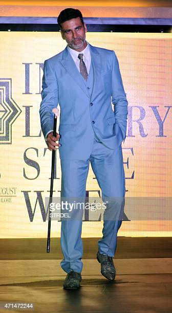 Indian Bollywood actor Akshay Kumar poses during a promotional event for India Luxury Style Week in Mumbai late April 28 2015 AFP PHOTO/STR