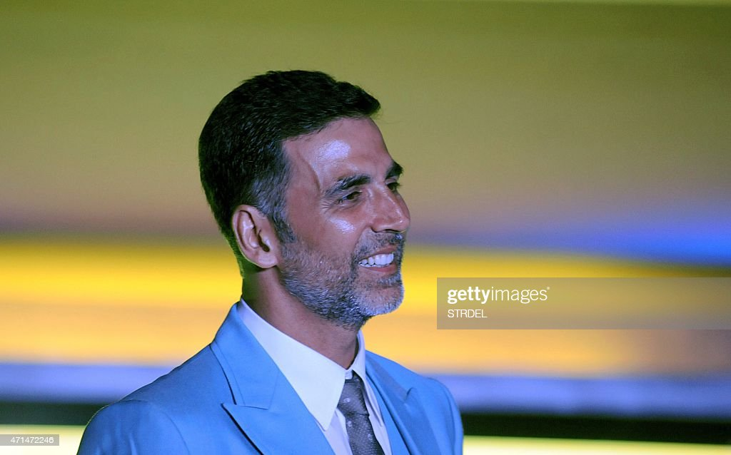 Indian Bollywood actor <a gi-track='captionPersonalityLinkClicked' href=/galleries/search?phrase=Akshay+Kumar&family=editorial&specificpeople=752716 ng-click='$event.stopPropagation()'>Akshay Kumar</a> poses during a promotional event for India Luxury Style Week in Mumbai late April 28, 2015.