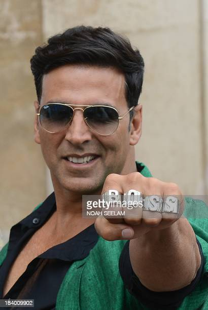 Indian Bollywood actor Akshay Kumar poses during a visit to the Charminar monument for his upcoming film BOSS in Hyderabad on October 11 2013 AFP...