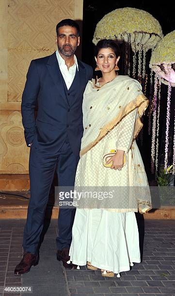 Indian Bollywood Actor Akshay with wife Twinkle Khanna attends the wedding reception of Bollywood film director Punit Malhotra and Riddhi Malhotra...