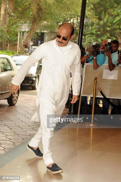 Indian Bollywood actor Akshaye Khanna arrives to attend a prayer meeting for his father the late actor and politician Vinod Khanna in Mumbai on May 3...