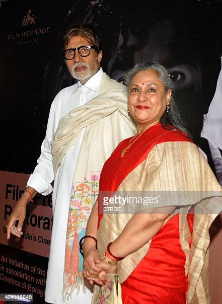 Indian Bollywood actor Amitabh Bachchan and his wife Jaya Bachchan arrive at the launch of Film Preservation and Restoration School India a week long...