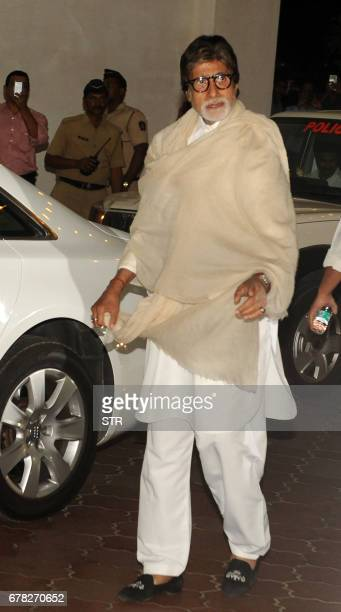 Indian Bollywood actor Amitabh Bachchan arrives to attend a prayer meeting for the late actor and politician Vinod Khanna in Mumbai on May 3 2017 /...