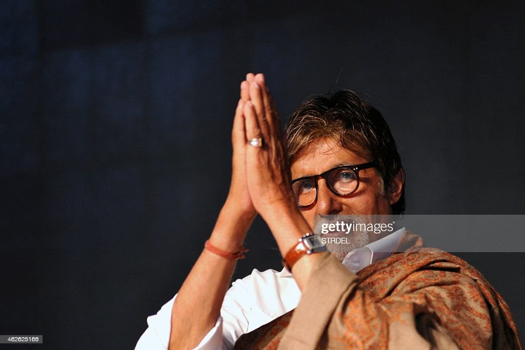Indian Bollywood actor <a gi-track='captionPersonalityLinkClicked' href=/galleries/search?phrase=Amitabh+Bachchan&family=editorial&specificpeople=220394 ng-click='$event.stopPropagation()'>Amitabh Bachchan</a> attends an event organised by the Rotary Club of Bombay in Mumbai on February 1, 2015. AFP PHOTO/STR