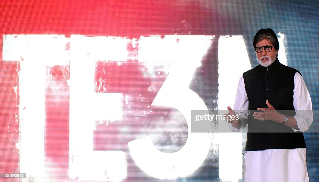 Indian Bollywood actor Amitabh Bachchan attends the music launch for Hindi film Te3n in Mumbai on May 27, 2016. / AFP / -