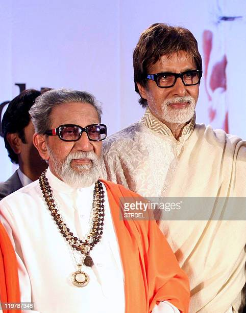 Indian Bollywood actor Amitabh Bachchan is seen with Maharashtra politician and Shiv Sena chief Bal Thackeray during the launch of the 'Ayurwedic...