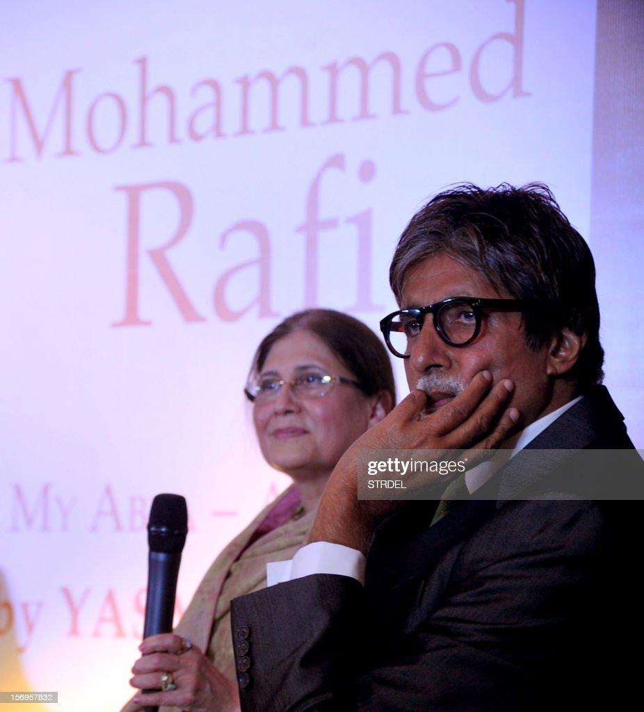 "Indian Bollywood actor Amitabh Bachchan (R) looks on during the unveiling Westland's book ""Mohammed Rafi My Abba- A Memoir"" by Yasmin K.Rafi in Mumbai on November 25, 2012."