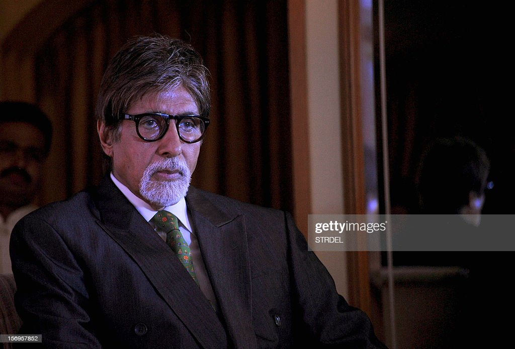 "Indian Bollywood actor Amitabh Bachchan looks on during the unveiling Westland's book ""Mohammed Rafi My Abba- A Memoir"" by Yasmin K.Rafi in Mumbai on November 25, 2012."