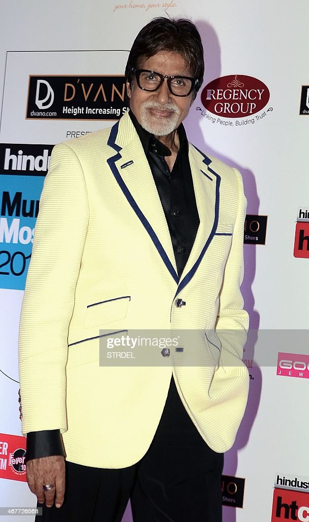 Indian Bollywood actor <a gi-track='captionPersonalityLinkClicked' href=/galleries/search?phrase=Amitabh+Bachchan&family=editorial&specificpeople=220394 ng-click='$event.stopPropagation()'>Amitabh Bachchan</a> poses as he attends the HT Mumbai's Most Stylish Awards 2015 ceremony in Mumbai late March 26, 2015. AFP PHOTO/STR