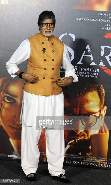Indian Bollywood actor Amitabh Bachchan poses during the launch of the forthcoming Hindi film Sarkar 3 written and directed by Ram Gopal Varma in...