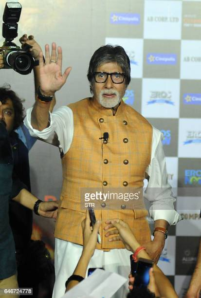 Indian Bollywood actor Amitabh Bachchan waves during the launch of the forthcoming Hindi film Sarkar 3 written and directed by Ram Gopal Varma in...