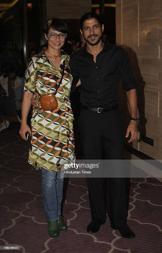 Indian bollywood actor and director Farhan Akhtar with his wife Adhuna Akhtar during the 'Talaash' success party at JW Marriott, Juhu on December 10, 2012 in Mumbai, India. Talaash hit the box office on the 30th of November.