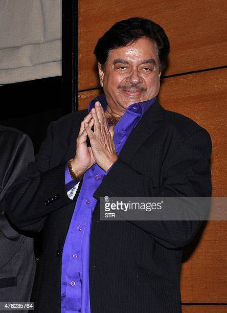 Indian Bollywood actor and politician Shatrughan Sinha attends an event to honour politician and former finance minister Yashwant Sinha who was...