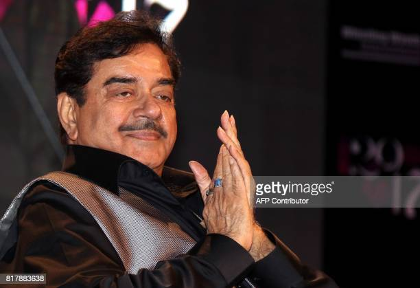 Indian Bollywood actor and politician Shatrughan Sinha attends the Whistling Woods International Institute's 10th convocation ceremony in Mumbai on...