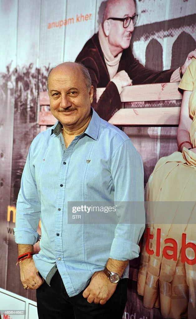 Indian Bollywood actor Anupam Kher attends his new Hindi stage play 'Mera Woh Matlab Nahi Tha written and directed by Rakesh Bedi in Mumbai on March...