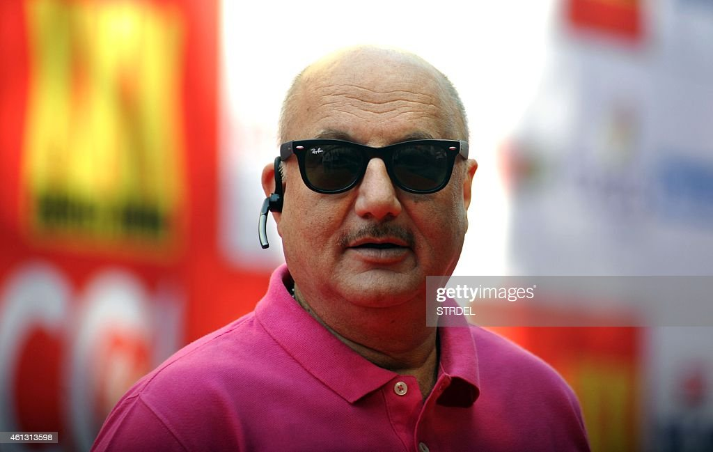 Indian Bollywood actor Anupam Kher poses for a photograph during the Celebrity Cricket League season five in Mumbai on January 10 2015 AFP PHOTO / STR