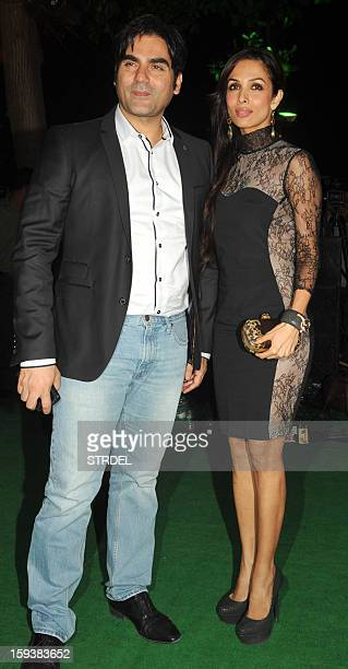 Indian Bollywood actor Arbaaz Khan with his wife Malaika Arora Khan during the inauguration of a furniture showroom by actors Sunil and Mana Shetty...