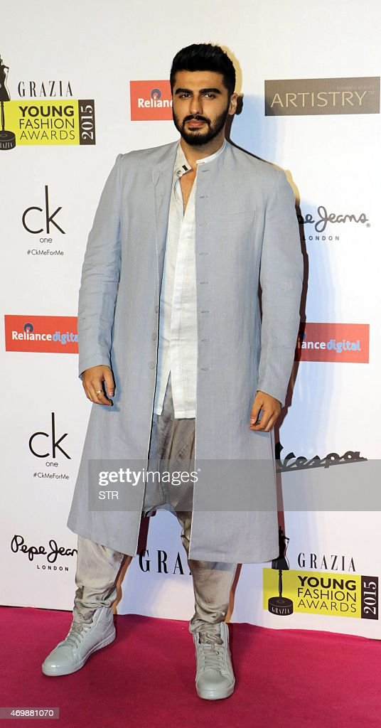 Indian Bollywood actor <a gi-track='captionPersonalityLinkClicked' href=/galleries/search?phrase=Arjun+Kapoor&family=editorial&specificpeople=6147223 ng-click='$event.stopPropagation()'>Arjun Kapoor</a> attends the 'Grazia Young Fashion Awards 2015' ceremony in Mumbai on April 15, 2015.