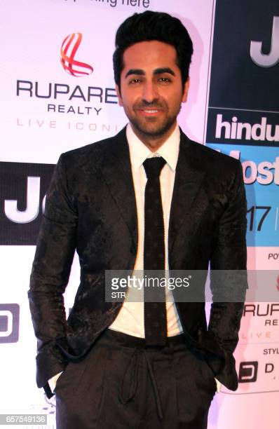 Indian Bollywood actor Ayushmaan Khurrana poses as he attends the 'HT Most Stylish' awards ceremony in Mumbai late March 24 2017 PHOTO / STR