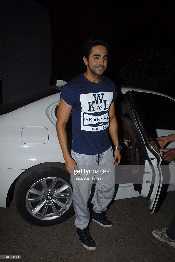 Indian Bollywood actor Ayushmann Khurrana arriving at the Blackberrys Sharp Night Fashion Show at Mehboob studio, Bandra on May 3, 2013 in Mumbai, India. The Blackberrys Sharp Night is a fashion show organised by Blackberrys to showcase their new Summer/Spring collection.