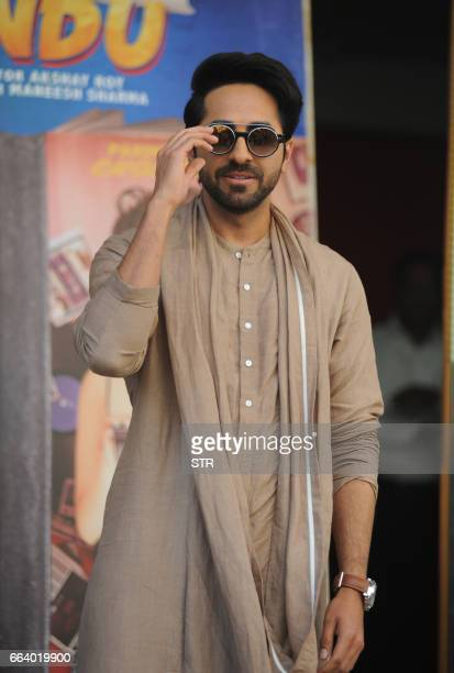 Indian Bollywood actor Ayushmann Khurrana poses for a photograph during a promotional event for the forthcoming Hindi film 'Meri Pyaari Bindu'...