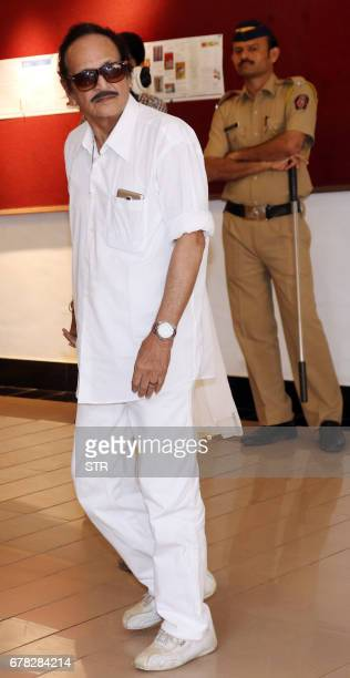 Indian Bollywood actor Biswajeet Chatterjeet arrives to attend a prayer meeting for the late actor and politician Vinod Khanna in Mumbai on May 3...