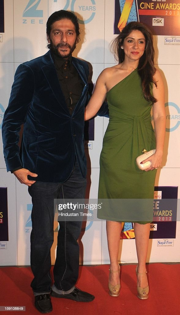Indian bollywood actor Chunky Pandey with his wife Bhavna Pandey attending Zee Cine Awards 2013 at Yash Raj Studio on January 6, 2013 in Mumbai, India.