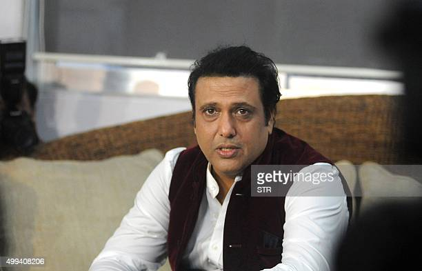 Indian Bollywood actor Govinda addresses the media during a press conference at his residence im Mumbai on December 1 2015 The Indian Supreme Court...