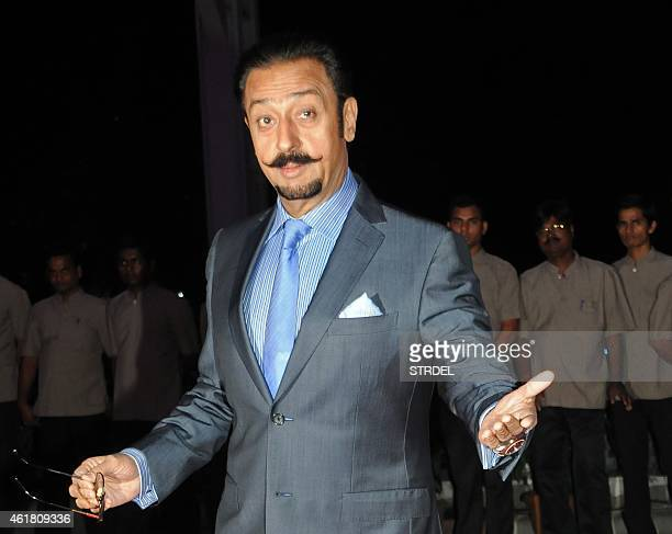 Indian Bollywood actor Gulshan Grover attends the wedding reception of Kussh Sinha son of Bollywood veteran actor Shatrughan Sinha and Taruna Agarwal...