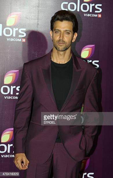 Indian Bollywood actor Hrithik Roshan poses as he attends the Colors Annual Party in Mumbai late April 18 2015 AFP PHOTO/STR
